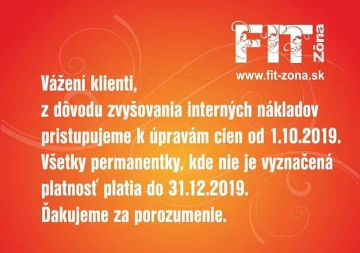 fit-zona - oznam - zmeny cien